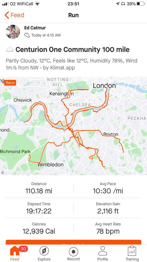 Strava route of Ed's 100 mile run